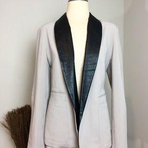 BB Dakota Genuine Leather Collar Blazer
